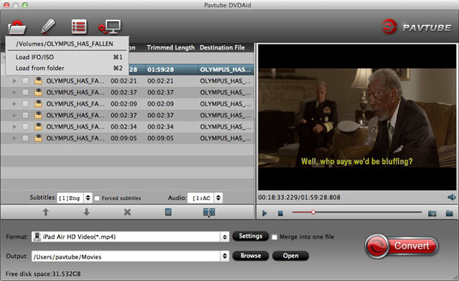Pavtube DVDAid for Mac is capable of 1:1 DVD structure backup and converting DVD/DVD folder/ISO/IFO to almost all popular SD and HD video formats like H.264, DivX, MP4, AVI, WMV, MOV, FLV, MKV, etc. to watch DVD movies on iPad, iPhone, Xbox, PSP