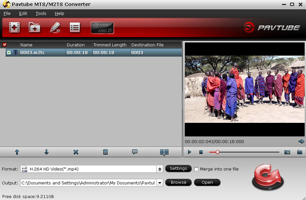 mtsconverter interface Edit/Play JVC GS TD1 3d AVCHD mts files on PC and Mac