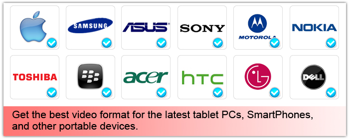Get the best video format for the LATEST tablet PCs, SmartPhones, and other portable devices.