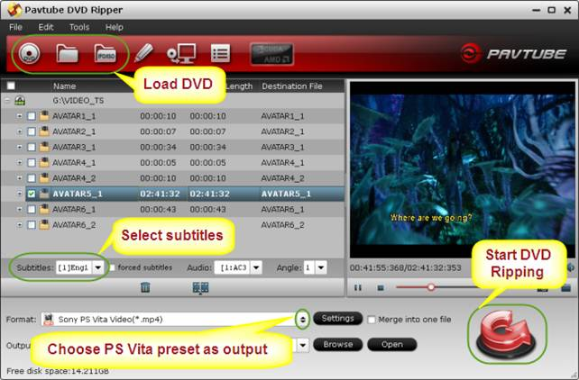dvd to ps vita with subtitles