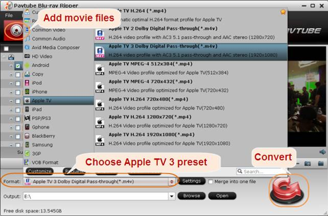 convert blu-ray to apple tv gen 3
