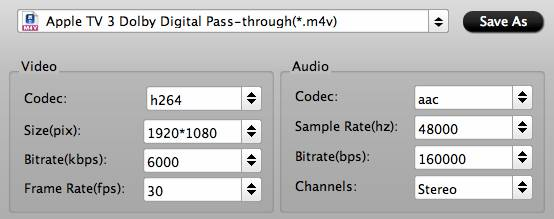 rip bluray to atv 3 with Dolby Digital 5.1 pass-through,