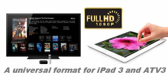 universal format for ipad 3 and atv 3