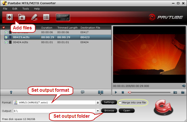 Convert M2TS to WMV