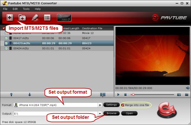 Import MTS/ M2TS files