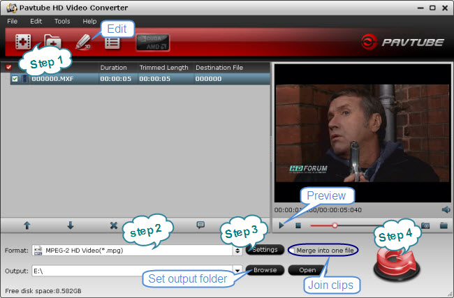 convert AJ-HPX3700 HD MXF to MPEG