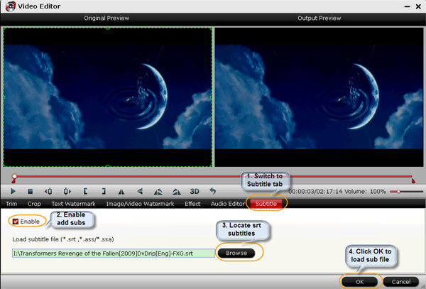 How to add srtassssa subtitle to movie files on macwin mavericks click video editor tab and switch to subtitle box select enable icon locate your srtassssa subtitles and load it ccuart Image collections