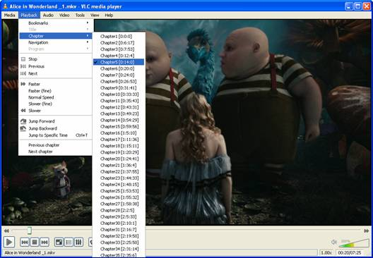 play blu-ray in chapter with vlc