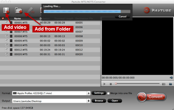 convert Canon XA25 footages to Apple InterMediate Codec,
