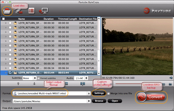 Blu-ray playback on Mac VLC player with wanted audio and subtitles