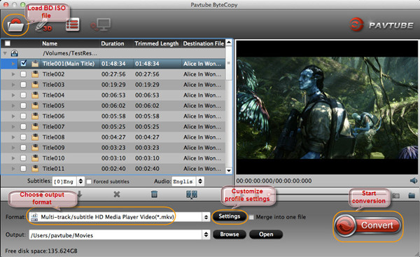 Convert Blu-ray ISO to MKV 1080p for streaming Blu-ray from