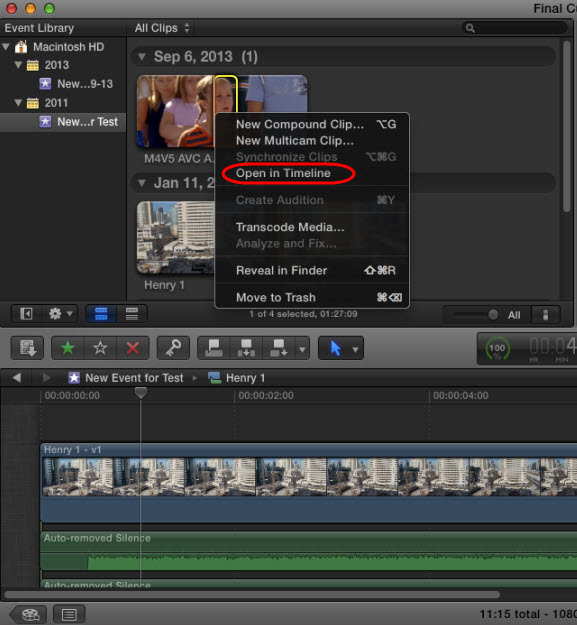 edit video in fcpx timeline
