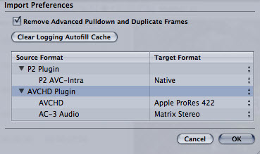import avchd to fcp7 settings