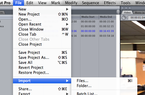 import converted prores to fcp7