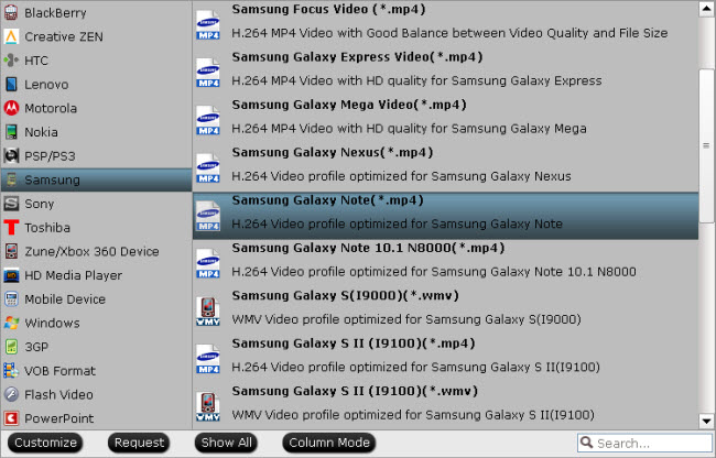 select output format for galaxy note 3