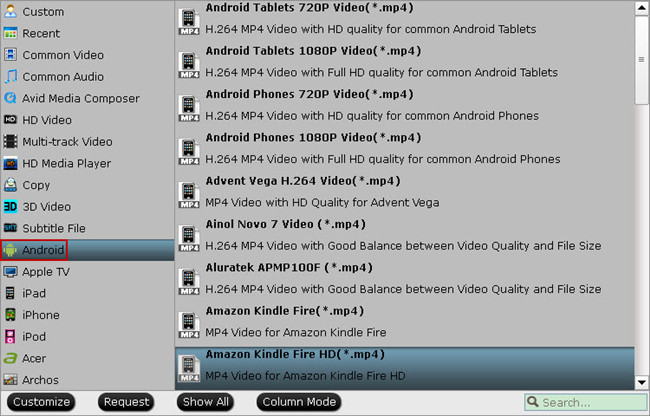 android tablet video format