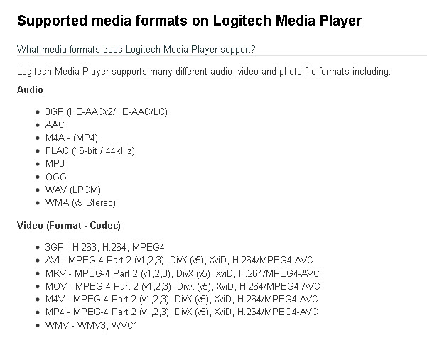 Logitech Media Player supported format