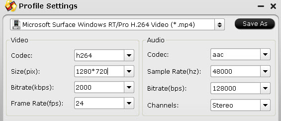 surface pro 2 profile settings
