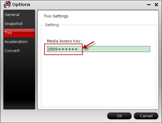 enter media access key for tivo recordings