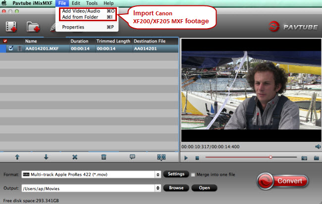 import canon mxf for converting to fcp x