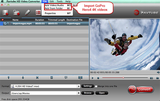 import gopro 4k videos for converting to quicktime mov