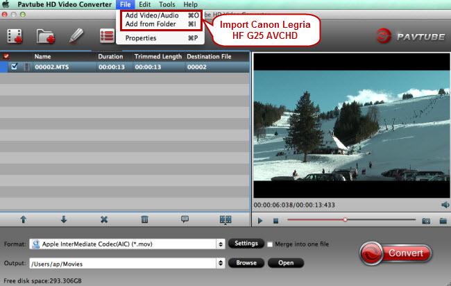 import canon avchd for imovie