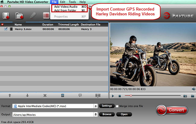 Convert contour mov to mpeg 2 for editing in imovie add videoaudio or add from folder to import mov files generated by your contour camera during the journey of joyful riding sky diving etc ccuart Images