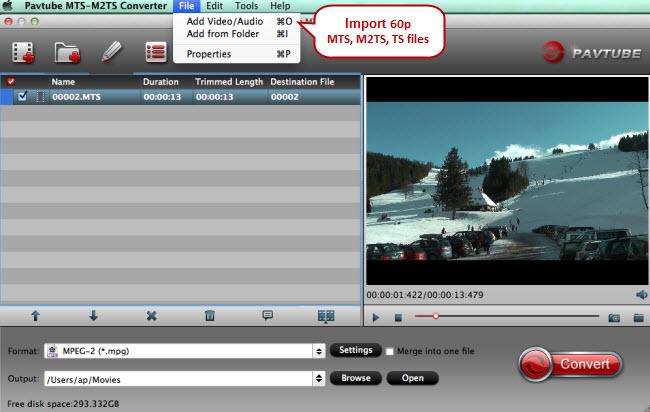 import 60p mts m2ts ts files