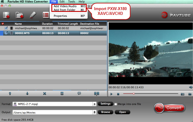 import xavc avchd footage