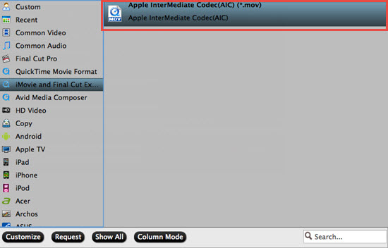 Select to output iMovie AIC format