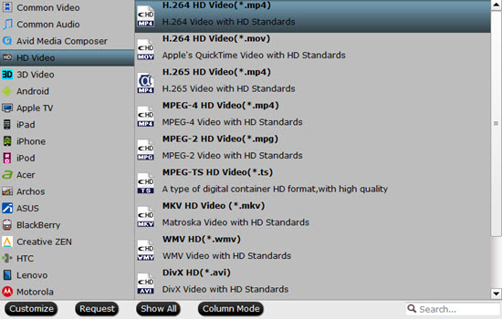 Output format for HD TV