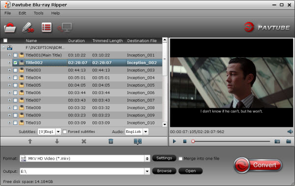 blu-ray ripper import interface