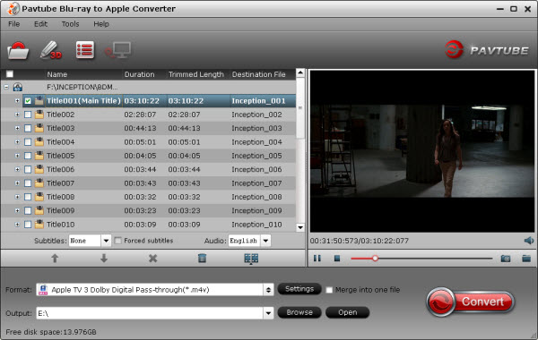 blu-ray to ipad converter importing interface
