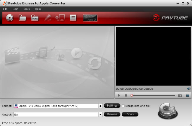 blu-ray to apple tv converter main interface