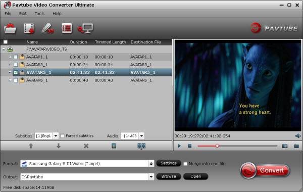 blu-ray video converter ultimate importing interface