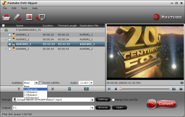 dvd ripper importing interface