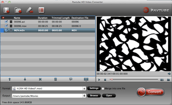 Pavtube HD Video Converter for Mac Screenshot