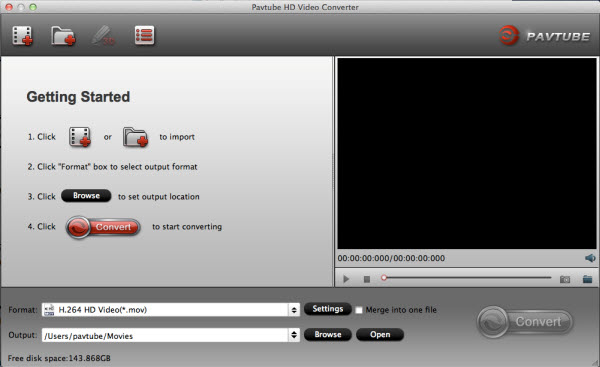 hd video converter for mac main interface