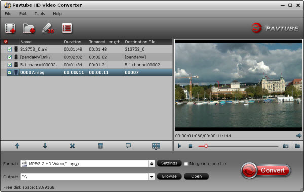 hd video converter importing interface