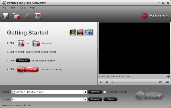 hd video converter main interface