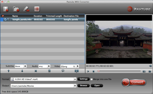mkv converter for mac importing interface