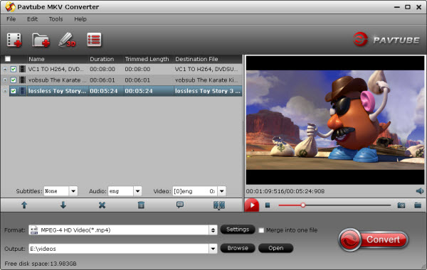 mkv converter importing interface