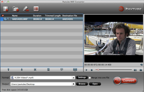 MXF Converterfor Mac importing interface