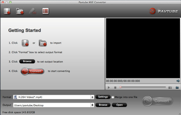 MXF Converterfor Mac main interface