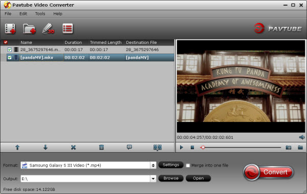 pavtube video converter import window