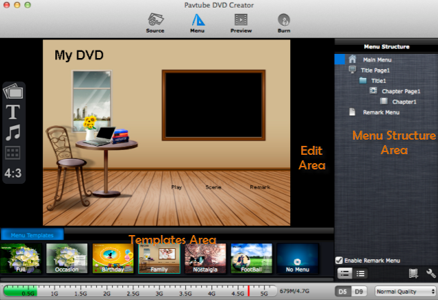 dvd creator for mac online help menu screen